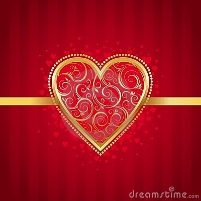 Valentines card with golden ornate heart