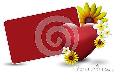 Valentines card width flowers