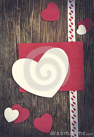 Valentines Day background with heart and greeting card