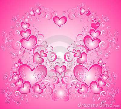 Valentines day background with heart, vector