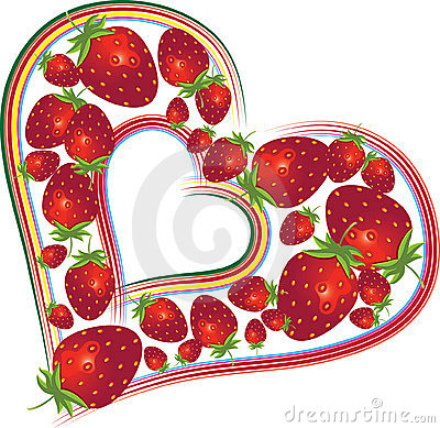 Valentines Day background with strawberries
