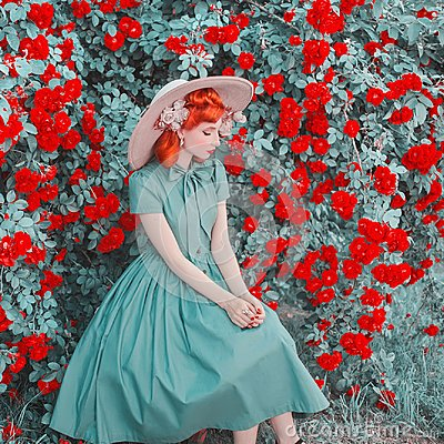 Free Valentines Day Background. Stylish Retro Girl With Red Lips In Dress On Beautiful Summer Background. Fashionable Clothes. Royalty Free Stock Photo - 121694005