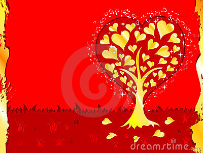Valentines Day background with tree and hearts