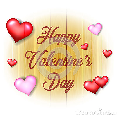 Valentines Day background on wooden texture Vector Illustration