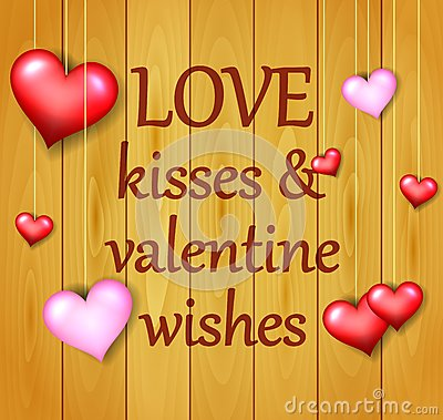 Valentines Day background on wooden texture Stock Photo