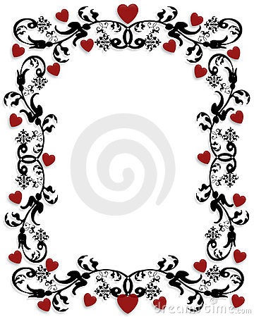 red hearts swirls valentines day frame stock images image 3909764