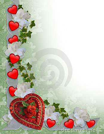 Free Valentines Day Border Hearts And Ribbons Stock Images - 12003134