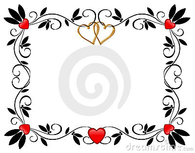Valentines day Border Hearts ornamental