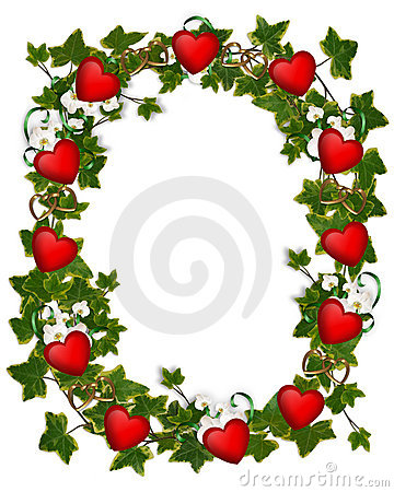Valentines day Border Ivy Wreath with Hearts