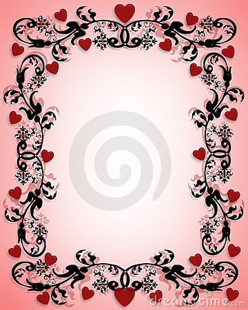 Valentines day border ornamental hearts