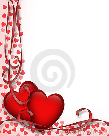 Free Valentines Day Border Red Hearts 3D Stock Image - 3975661