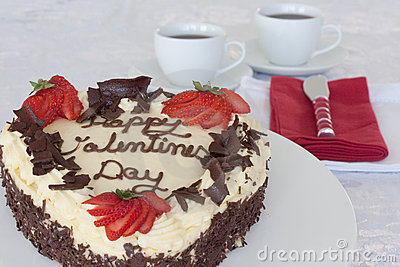 Valentines Day Cake with Red Butter Knife