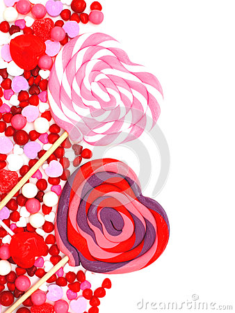 Valentines Day candy border