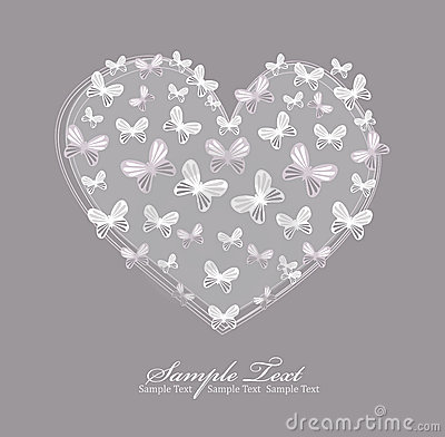 Valentines day card with heart and butterfly