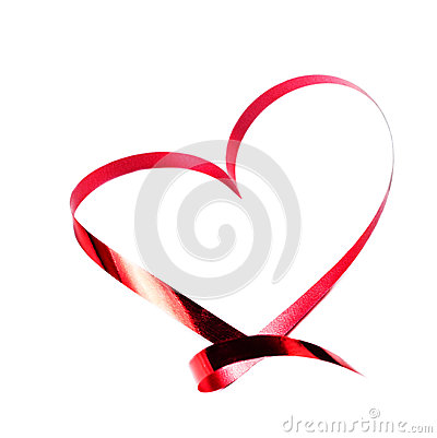 Valentines day card. Heart made of Red ribbon isolated on white