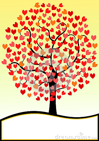 Valentines Day Card hearts Tree
