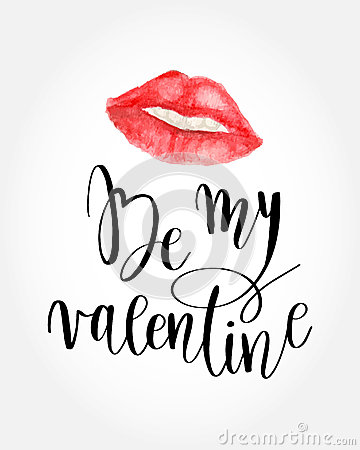 Free Valentines Day Card Lettering Be My Valentine. Royalty Free Stock Photos - 85195828