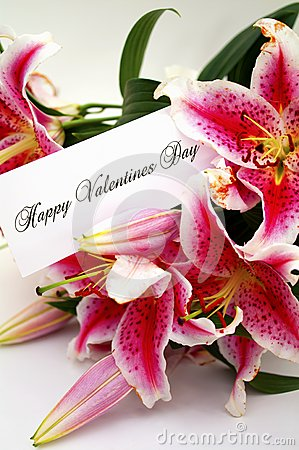 Valentines day card with liliums