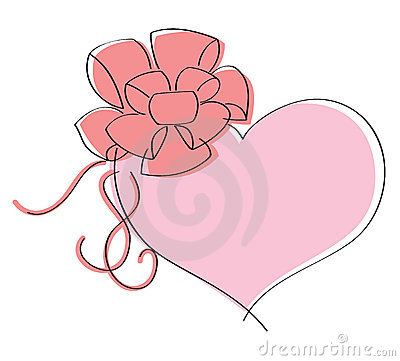 Valentines day card with love. Pink heart with bow