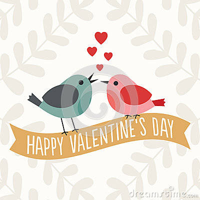 Free Valentines Day Card With Cute Love Birds Royalty Free Stock Image - 37518136