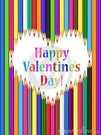 Free Valentines Day Card With Heart Of Colored Pencils Stock Images - 34260404