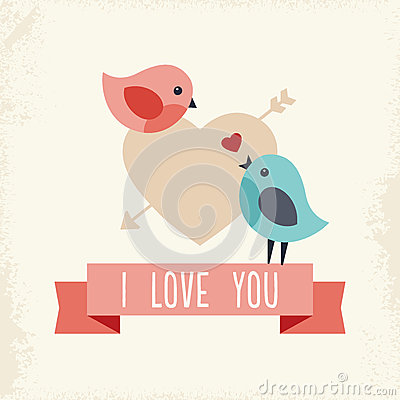 Free Valentines Day Card With Two Love Birds Royalty Free Stock Photos - 37518158