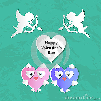 Valentines day cards with ornaments, hearts, angel and arrow Vector Illustration