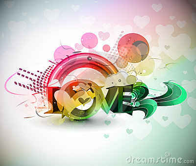 Valentines day colorful 3d love background