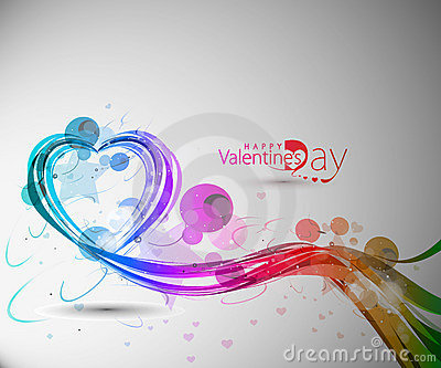 Valentines day colorful rainbow wave line heart de