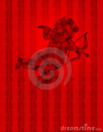 Valentines Day Cupid with Hearts on Wallpaper