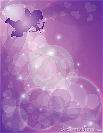 Valentines Day Cupid with Purple Hearts Background