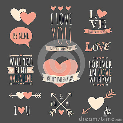 Free Valentines Day Design Elements Collection Royalty Free Stock Image - 37664806