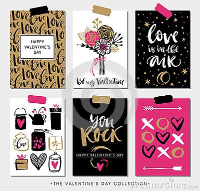 Free Valentines Day Gift Cards. Calligraphy And Hand Drawn Design. Stock Images - 66454564