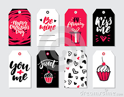 Valentines day gift tag vector set. Collection of hand drawn printable card templates with lettering Vector Illustration