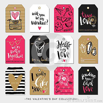 Free Valentines Day Gift Tags And Cards. Calligraphy Hand Drawn Design. Royalty Free Stock Photos - 66375698