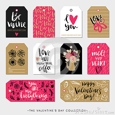 Free Valentines Day Gift Tags And Cards. Calligraphy Hand Drawn Design. Stock Photos - 66375703