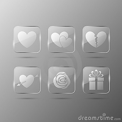 Valentines day glass icons