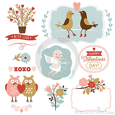 Free Valentines Day Graphic Elements, Vector Collection Royalty Free Stock Photos - 37283288