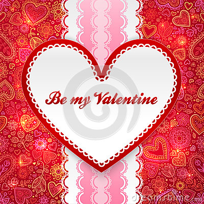 Valentines day greeting card with heart and ribbon