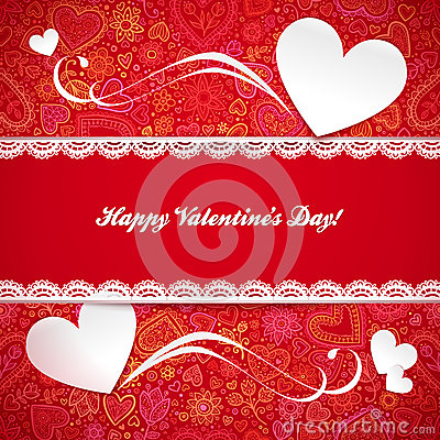 Valentines day greeting card with hearts