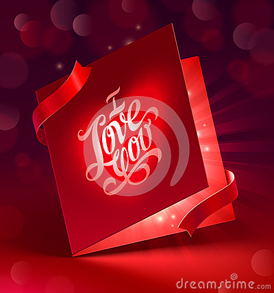 Valentines Day greeting card with ribbon