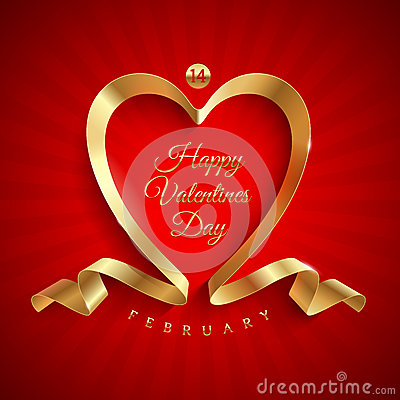 Free Valentines Day Greeting With Golden Ribbon Stock Photography - 28617612