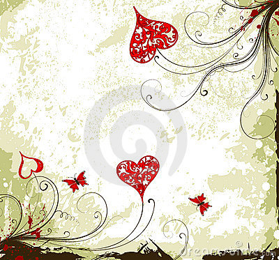 Valentines Day grunge background with hearts and f