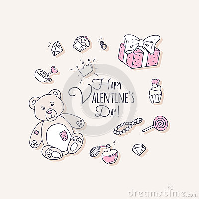 Valentines day hand drawn clip art Vector Illustration