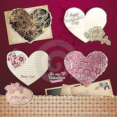 Valentines day hearts and elements