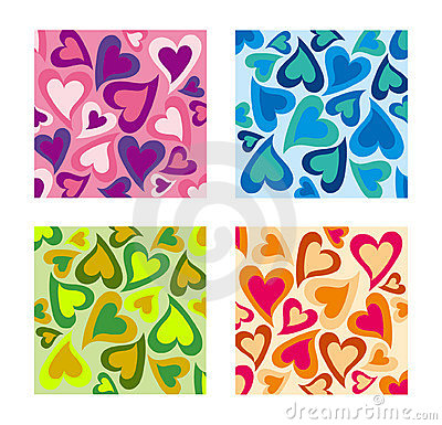 Free Valentines Day Hearts Pattern Set. Stock Image - 13841551