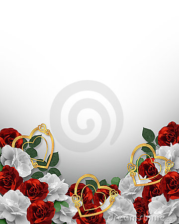 Valentines Day Hearts and Roses Border