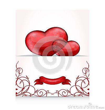 Valentines day letter with hearts