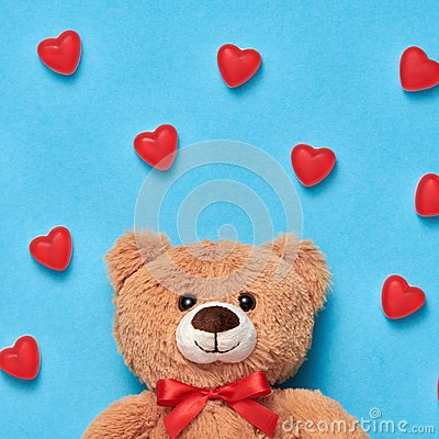 Free Valentines Day. Love.Teddy Bear With Sweets Hearts Stock Photo - 106756750