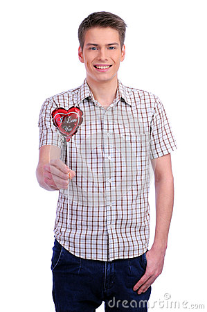Free Valentines Day Man Holding Red Heart Royalty Free Stock Photo - 28335755